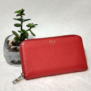 Fossil leather wallet rusty red orange